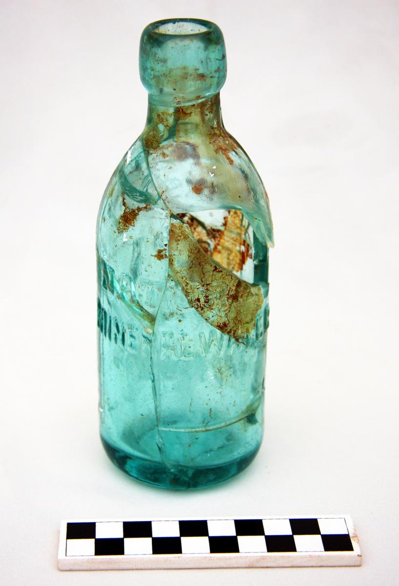 "Molded glass bottle, ""Jackson's Napa Soda Spring's,"" Jasper Ridge Preserve, California"