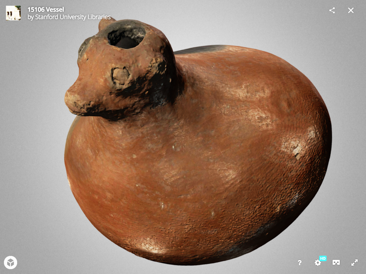 Screen shot of effigy vessel in 3D viewer (Object ID 15106)