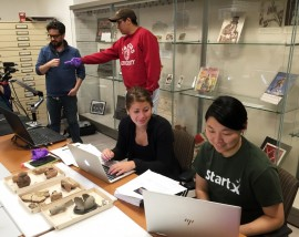 Students work at the Stanford University Archaeology Collections