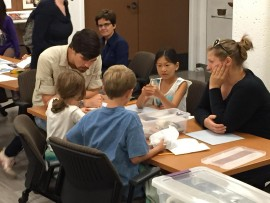 Graduate students lead Ventana School students in hands-on archaeology activities (2015).