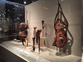 Sepik River case at the Oceanic Art gallery, de Young Museum, San Francisco, California.