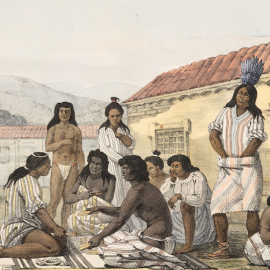 "Illustration by the Russian artist Louis Choris depicting a group of California ""Mission Indians,"