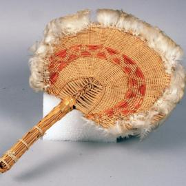 Fan of woven and dyed vegetable fiber with feathers, Oceania