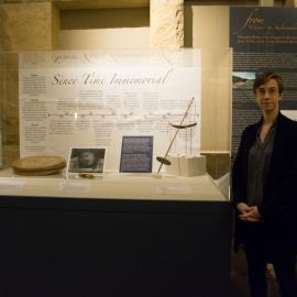 Photo of Christina J. Hodge at the Stanford Archaeology Center exhibits